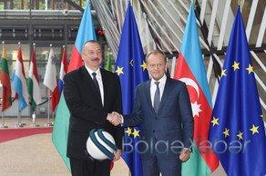 İlham Əliyev Brüsseldə Avropa İttifaqı Şurasının prezidenti ilə görüşüb