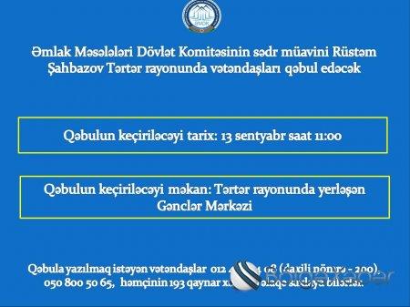 Dövlət Komitəsinin sədr müavini Tərtər rayonunda vətəndaşları qəbul edəcək